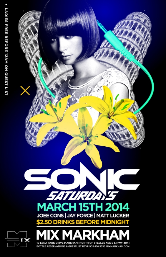 SONIC SATURDAYS $2.50 DRINKS & LADIES FREE