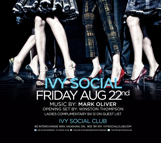 FRIDAY AUGUST 22 at IVY SOCIAL CLUB