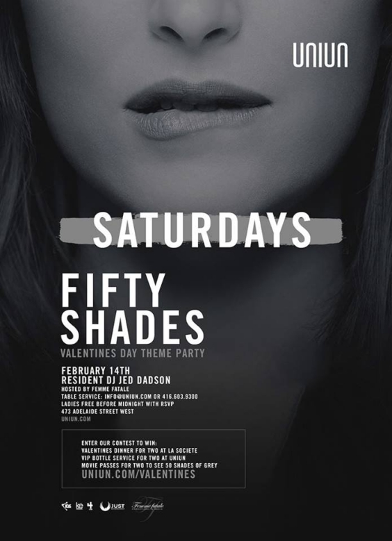 UNIUN SATURDAYS PRESENTS FIFTY SHADES OF GREY VALENTINES DAY PARTY