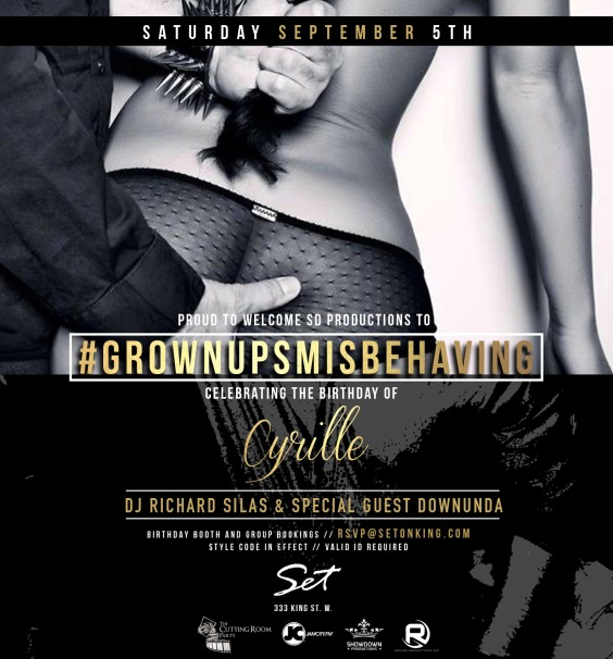 #GrownupsMisbehaving x #Celebration x #Saturday Sept 5th | #SETonKing