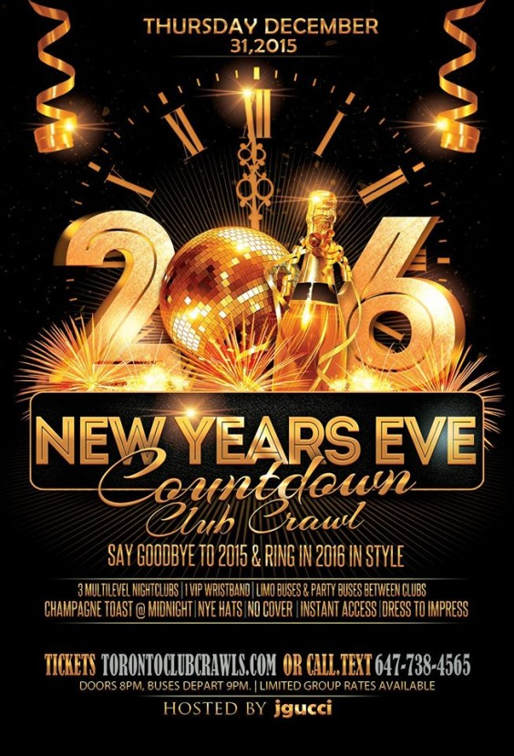 Countdown: NYE CLUB/PUB CRAWL 2015-2016