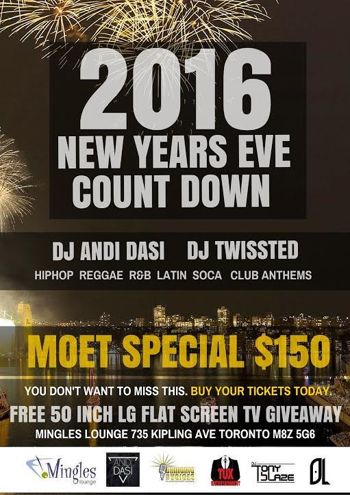 2016 NEW YEARS COUNT DOWN @ Mingles Lounge