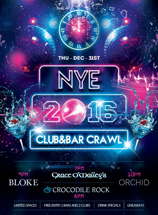 NYE 2016 Club & Pub Crawl
