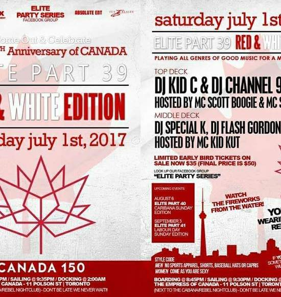 ELITE 39 Red & White Canada Day Long Weekend Boat Cruise 2017