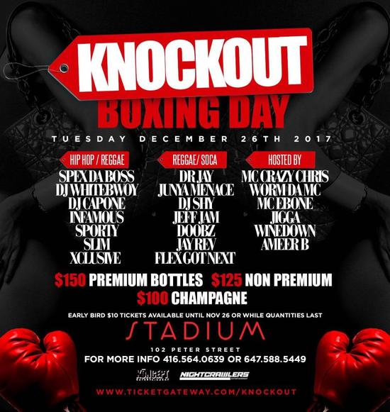 KNOCKOUT Boxing Day Bash $150 PREMIUM BOTTLES!