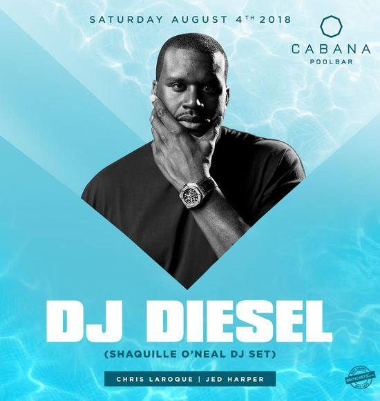 Shaquille O'Neal and DJ Diesel at Cabana Pool Bar