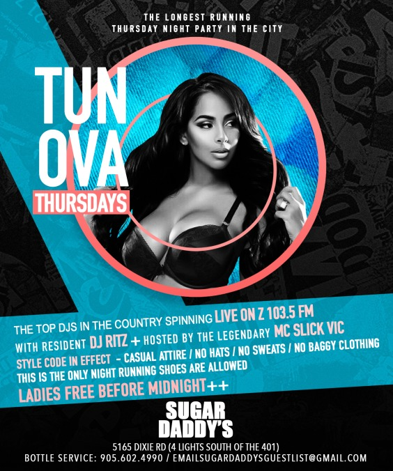 Sugar Daddy's Nightclub Events. Tun Ova Thursdays live to air Z103.5 fm