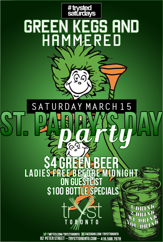 ST PADDY'S DAY- GREEN KEGS AND HAMMERED