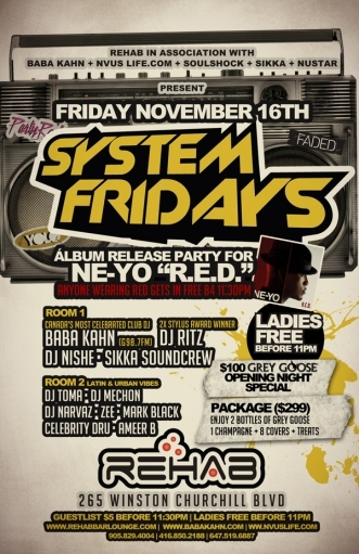 SYSTEM FRIDAYS @ REHAB NIGHTCLUB - MOVED TO SPOTLIGHT SATURDAYS @ THRONE
