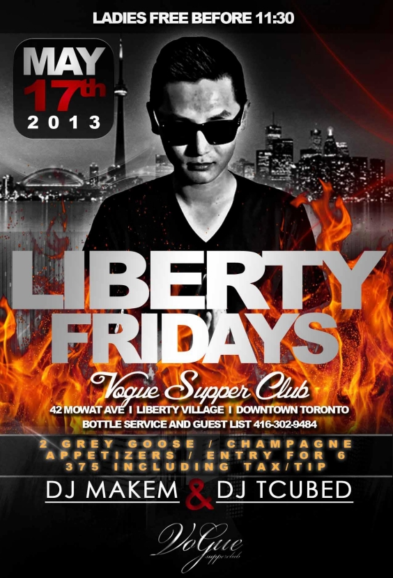 Liberty Fridays at Vogue - Ladies Free Til 11:30
