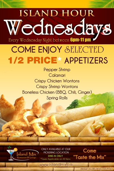 Island Hour Wednesday's 1/2 Price Selected Appetizers