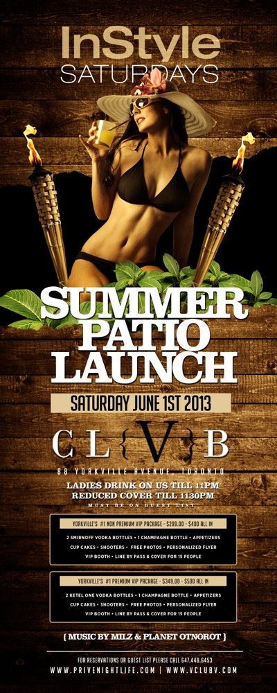 Ladies drink free till 11pm | Patio Launch Party – Yorkville Style!