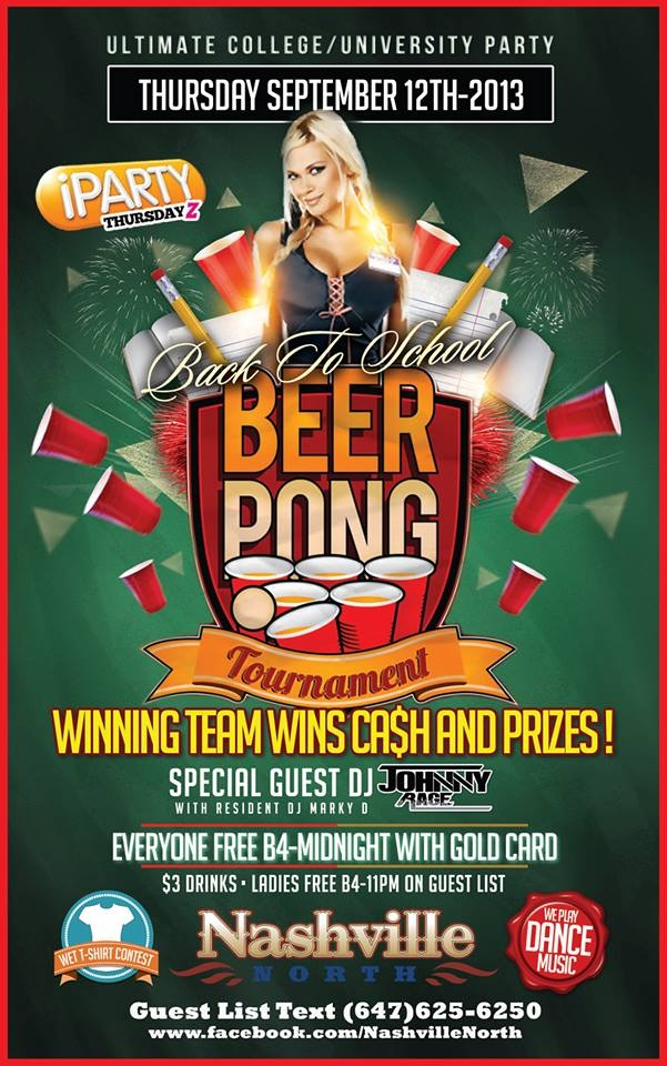 back to school beer pong party   nashville north nightclub